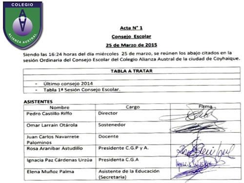 Acta Nº1 Consejo Escolar - 2015
