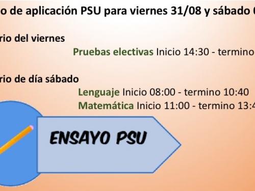 Horarios Primer Ensayo PSU Segundo Semestre 2018