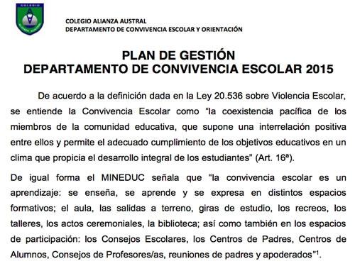 PLAN DE GESTIÓN CONVIVENCIA ESCOLAR 2015